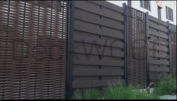 Забор из ДПК доски и полимерной лозы