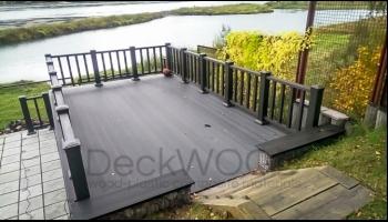 Небольшая терраса с использованием террасной доски DeckWOOD Premium кофейный и ограждений из ДПК в цвет